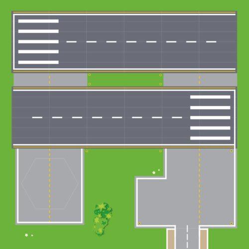 Spielmatte – Flughafen (XXL Spielmatte 110cm x 110cm)