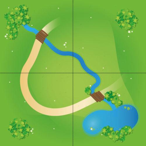Spielmatten Set – Große Landschaft mit Bach (4 Spielmatten)