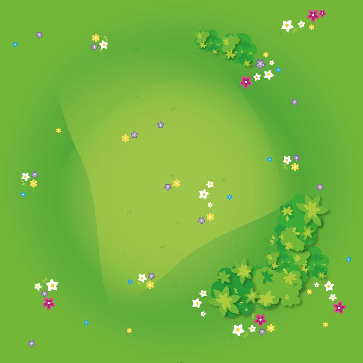 Spielmatte – Graslandschaft mit Blumen