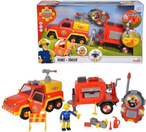 Simba 109251061 Feuerwehrmann Sam Venus Special Set, Anhänger mit Wasserspritzfunktion und Elvis Figur, Walkie Talkie und viel Zubehör